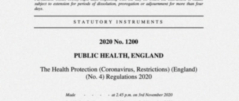 Snapshot of the November 2020 Public Health England legal document